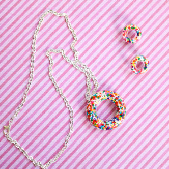Donut charm necklace and earrings made from resin