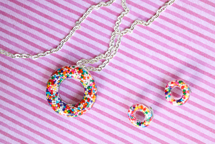 Make a DIY donut necklace and matching earrings with this tutorial.