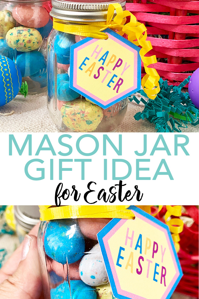 Make this Easter mason jar gift in minutes using the print then cut feature of your Cricut machine! A fun gift in a mini mason jar that everyone will love! #cricut #cricutmade #easter #masonjar