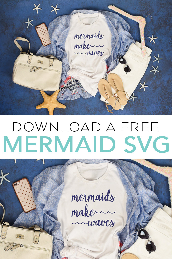 Download this free mermaid SVG file for your Cricut or Silhouette machine! A fun file to make a mermaid themed shirt! #mermaid #svg #freesvg #cricut #cricutmade #silhouette