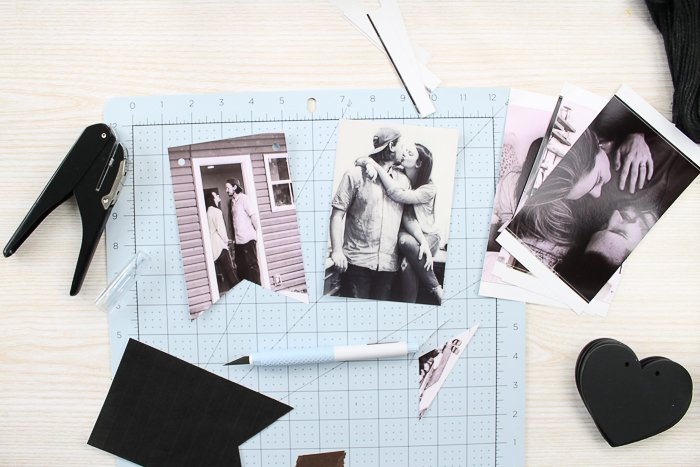 Cutting photos into a banner shape with a printable template