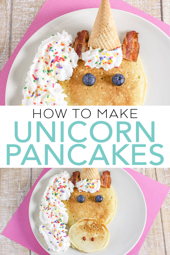 Learn how to make unicorn pancakes with this simple tutorial! A fun idea for the kids any morning of the week! #unicorn #breakfast #recipe