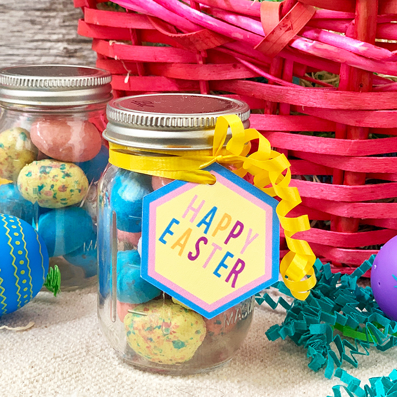 Easter mason jar gift ready to add to an Easter basket.