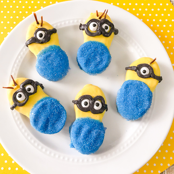 Minion cookies on a white plate