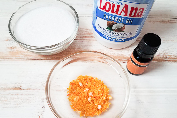 Ingredients to make orange zest sugar scrub