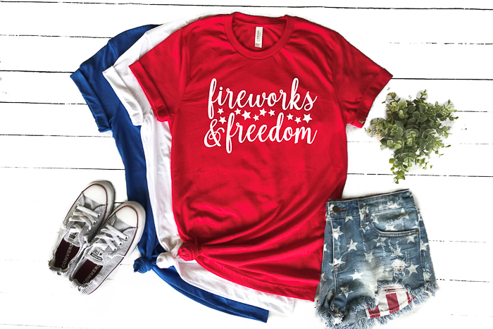 A patriotic SVG that says fireworks and freedom for your craft projects on your Cricut or Silhouette machine.