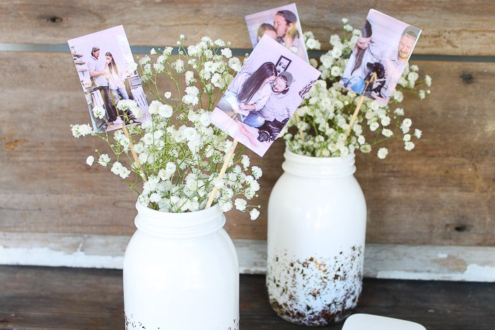 How to make picture centerpieces for weddings or even a graduation party.