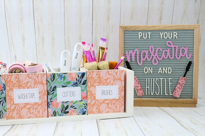 Craft organizer with printable labels next to a letter board with custom accessories.