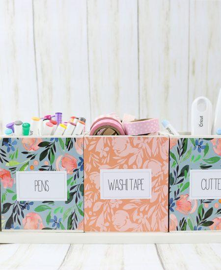 How to organize craft supplies using a Cricut cutter.
