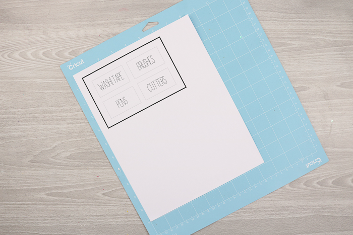 Using print then cut on a Cricut Explore Air 2 to make printable labels for craft supplies.