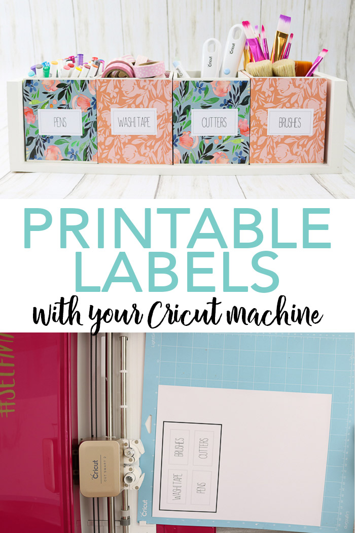 Learn how to make custom printable labels with your Cricut machine and the print then cut feature! You can then use them to organize craft supplies or just about anything around your home! You can also see more about the Cricut Explore Air 2 Wild Rose bundle at JOANN stores! #cricut #cricutmade #organize #craftroom #organization #labels