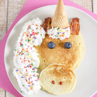Unicorn shaped pancakes in minutes with this easy idea.