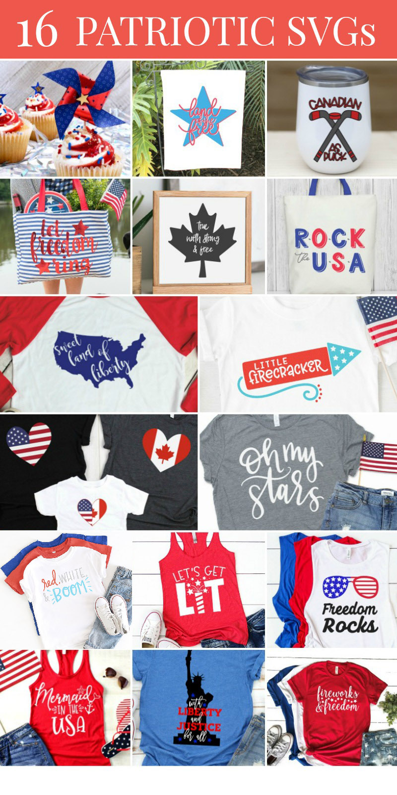 A collection of 15 free Patriotic SVG files for every kind of craft you can image for a patriotic summer!