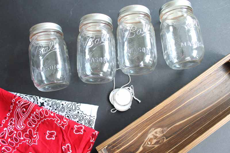 mason jars, bandannas, wood box, tags