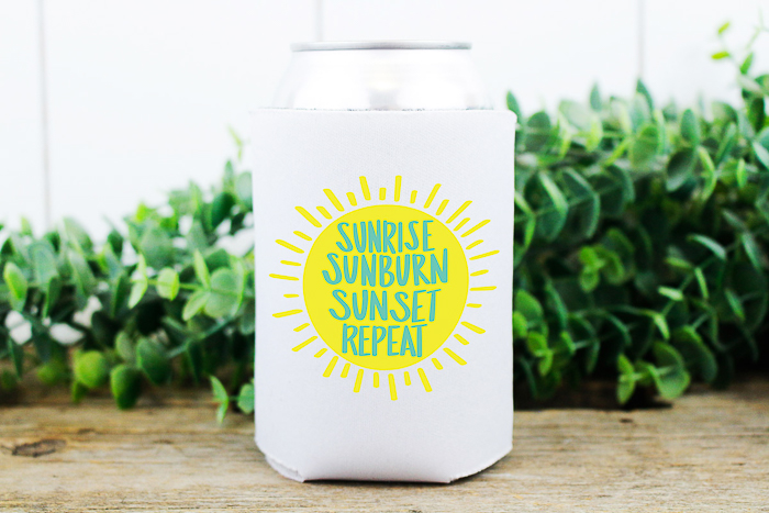 beach svg file on a can koozie