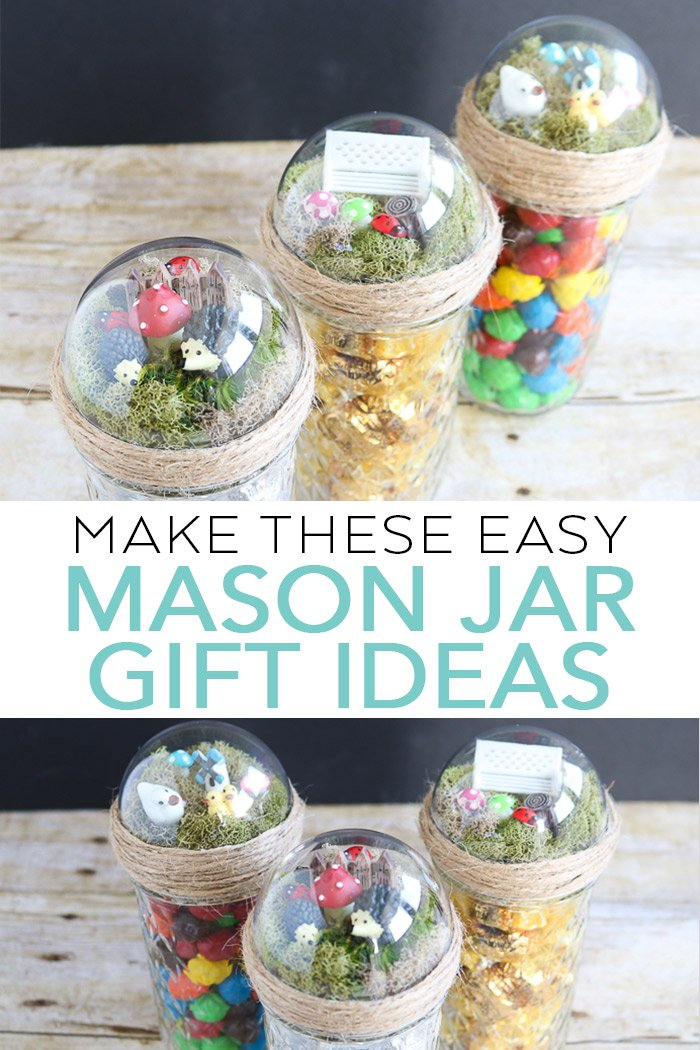 Make these easy mason jar gift ideas for someone you love! Quick and easy craft idea for putting a small fairy garden on top of a mason jar then adding a gift inside! #masonjars #giftidea #fairygarden
