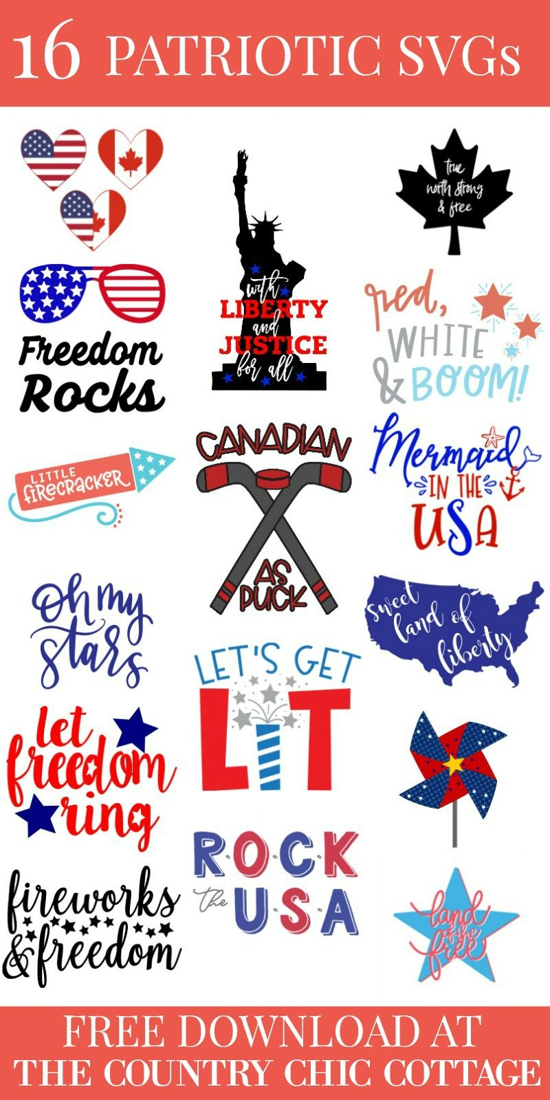 16 free patriotic SVG files all waiting for you to create something spectacular this summer! #cricut #cricutmade #silhouette #silhouettecameo #svg #svgfiles #freesvg