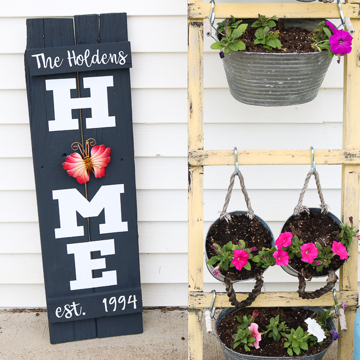 DIY Home sign with a butterfly garden ornament as the O, next to my wooden hanging planter stand