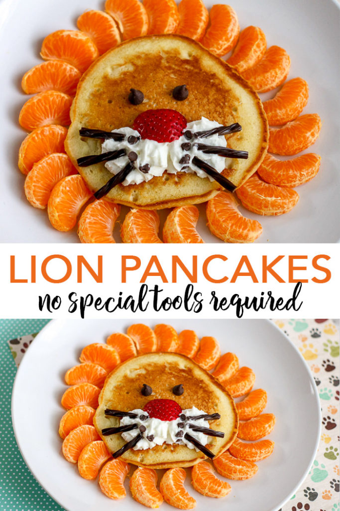 Learn how to make lion pancakes with this quick and easy breakfast idea! Lion King and jungle lovers will really fall for this special treat! #lion #lionking #breakfast #pancakes