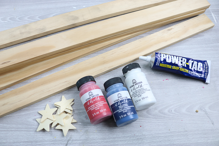 Supplies needed to make a star from wood strips