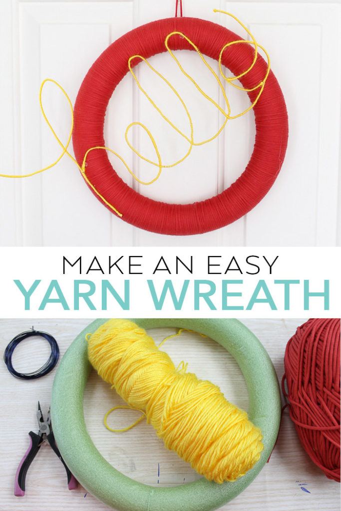 Learn how to make a door wreath with yarn! This easy to make yarn wreath will welcome visitors to your home! #wreath #yarn #crafts