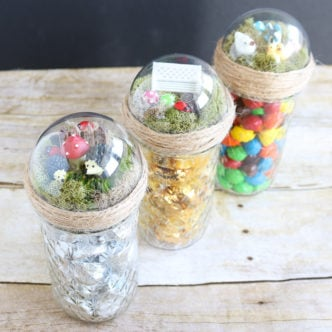 Adding a fun top to gifts in a mason jar