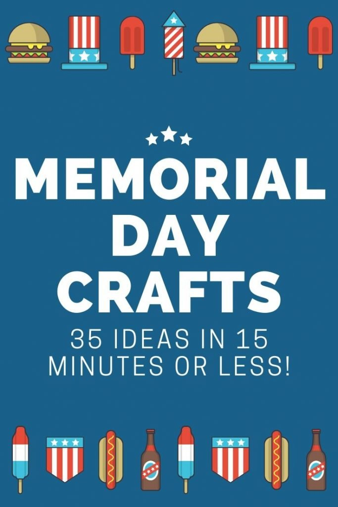 Great ideas for Memorial Day crafts that all take 15 minutes or less to make! Grab your supplies and get started on some patriotic crafts today! #memorialday #patriotic #crafts