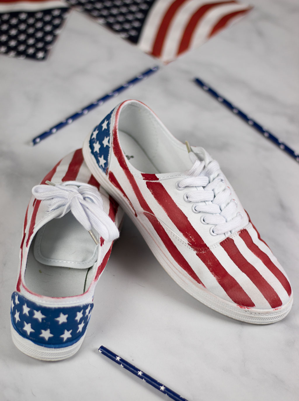 American Flag White Canvas Shoes