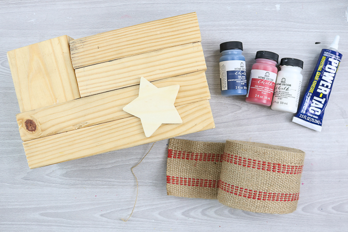 supplies for a diy rustic wood flag