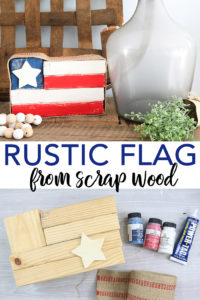 Learn how to make a rustic wood flag from 2x4 scraps! A great idea to decorate farmhouse style home for summer! #rustic #farmhouse #farmhousestyle #flag #patriotic