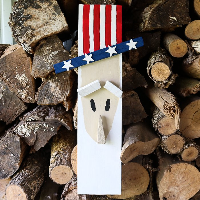 patriotic decorative uncle sam made from wood perfect for a porch