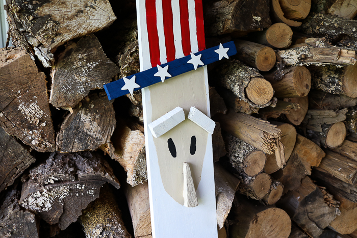 Uncle Sam 4th of July Decor made from wood.