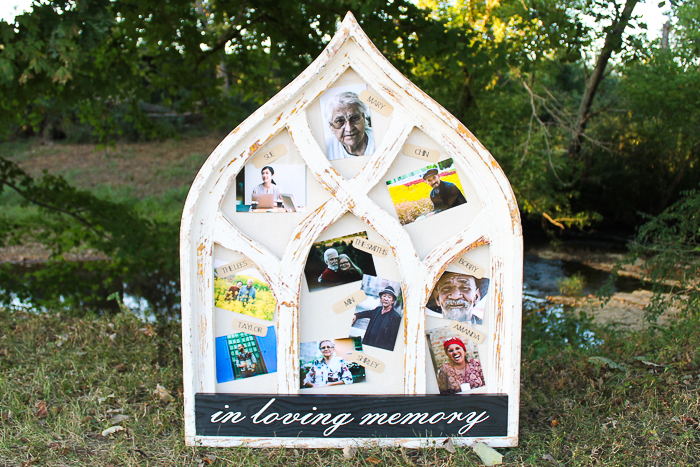 wedding memorial table ideas including a large frame that stands up with loved ones pictures
