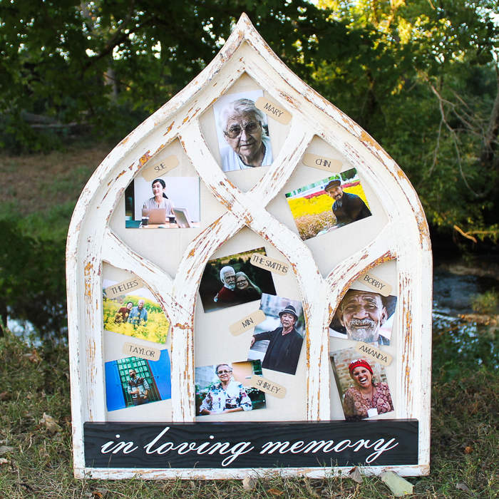 ideas for a wedding memorial table including a large frame