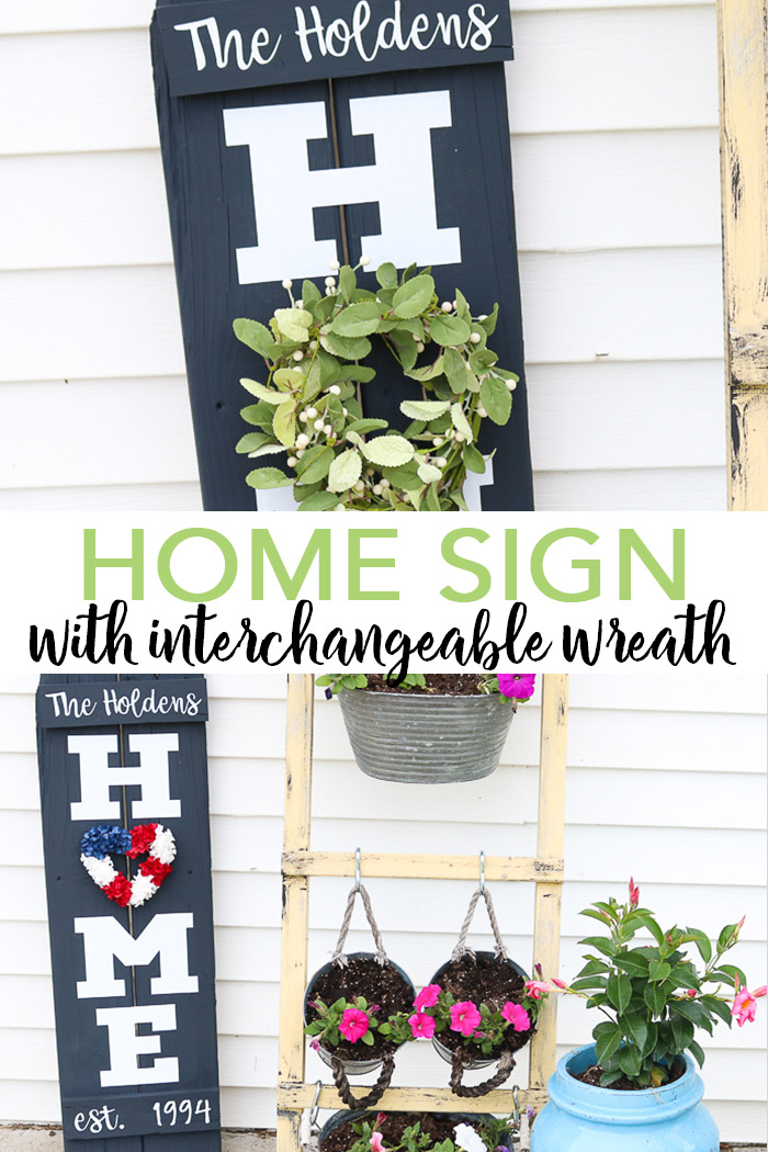 Make a DIY home sign with wreath with scrap wood and your Cricut machine in minutes! Get the tutorial and cut file here! #cricut #cricutmade #home #farmhouse #homesign