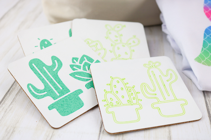 Coasters made with Cricut Infusible Ink