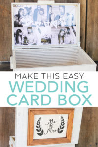 Learn how to make a DIY wedding card box from a vintage wood box! An easy project that is perfect for your DIY wedding! #wedding #cardbox #weddingdecor #diywedding