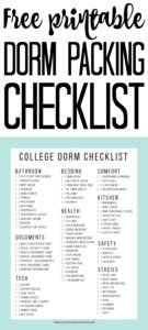 Grab this free printable dorm packing checklist and use it to organize your college move! It is time to head off on your own and you want to be sure to have everything you may need! #college #packing #collegelife