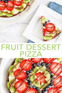 Our fruit dessert pizza has an amazing brownie crust that you will love! Get this easy fruit pizza recipe and whip it up this summer! #dessert #summer #fruit #chocolate