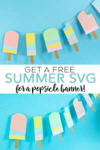 Make this popsicle banner with a free summer SVG you can cut on your Cricut machine! We are showing you how to use a Xyron sticker maker to pull this one together! #svg #freesvg #svgfile #summer #popsicle #cricut #cricutmade