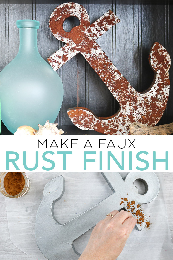 Learn how to make a faux rust finish with a common household staple that you have in your cabinet! You will not believe how easy this is! #rustic #rust #fauxfinish #paint #beach #coastal