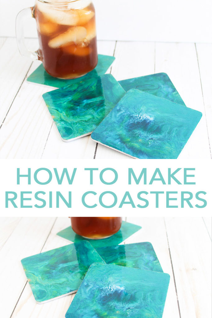 Learn how to make resin coasters! Adding a marbled resin coating to wood coasters is actually super easy and you are going to love the results! #resin #coasters #homedecor #marbled