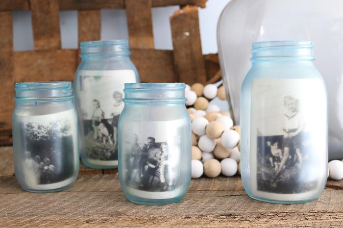A close up of three mason jars