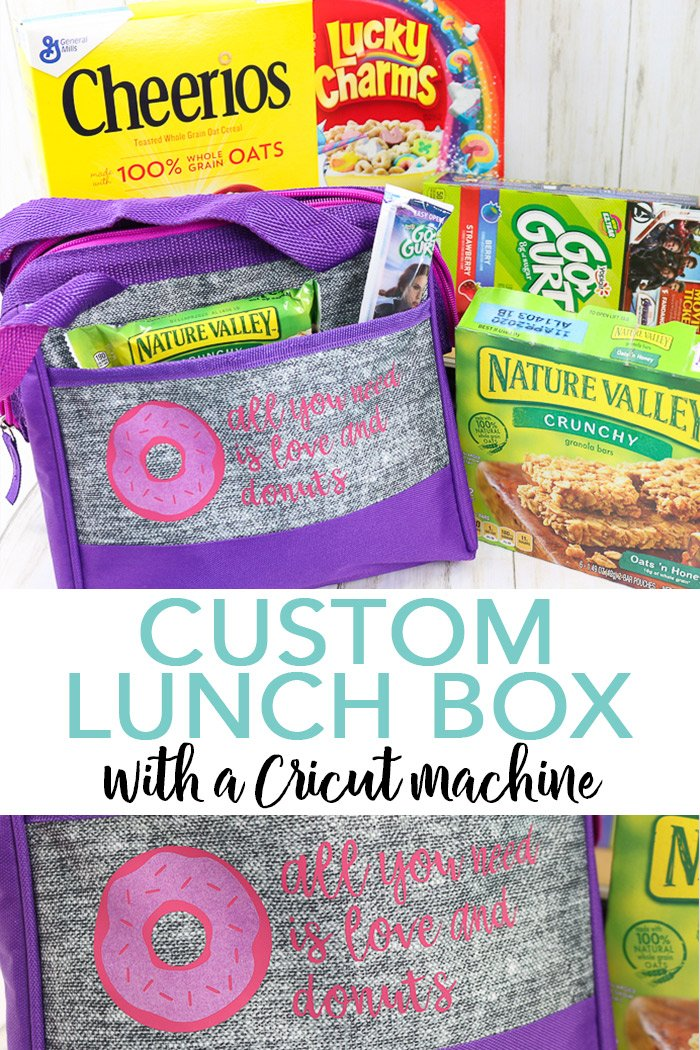 Learn how to make a custom lunch box with your Cricut! A fun donut cut file to make with heat transfer vinyl for back to school! #backtoschool #lunchbox #cricut #cricutmade #cricutcreated
