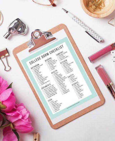 printable college dorm checklist