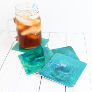 marbled resin coasters