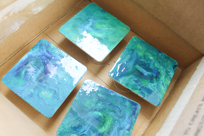 resin coasters with a marbling effect