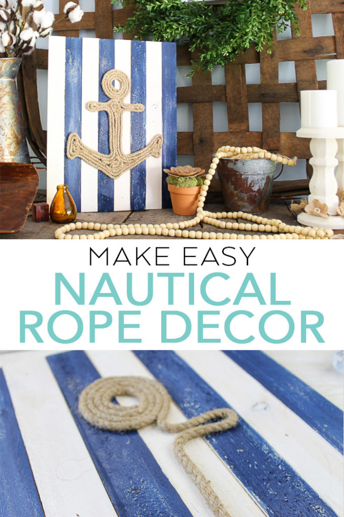 Making this DIY nautical rope decor in minutes with these easy instructions! Rope wall art is a great way to add that beachy feel! #nautical #beach #diy #rope #hotglue