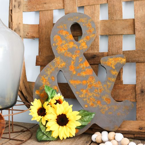 rustic wood ampersand with faux rust finish