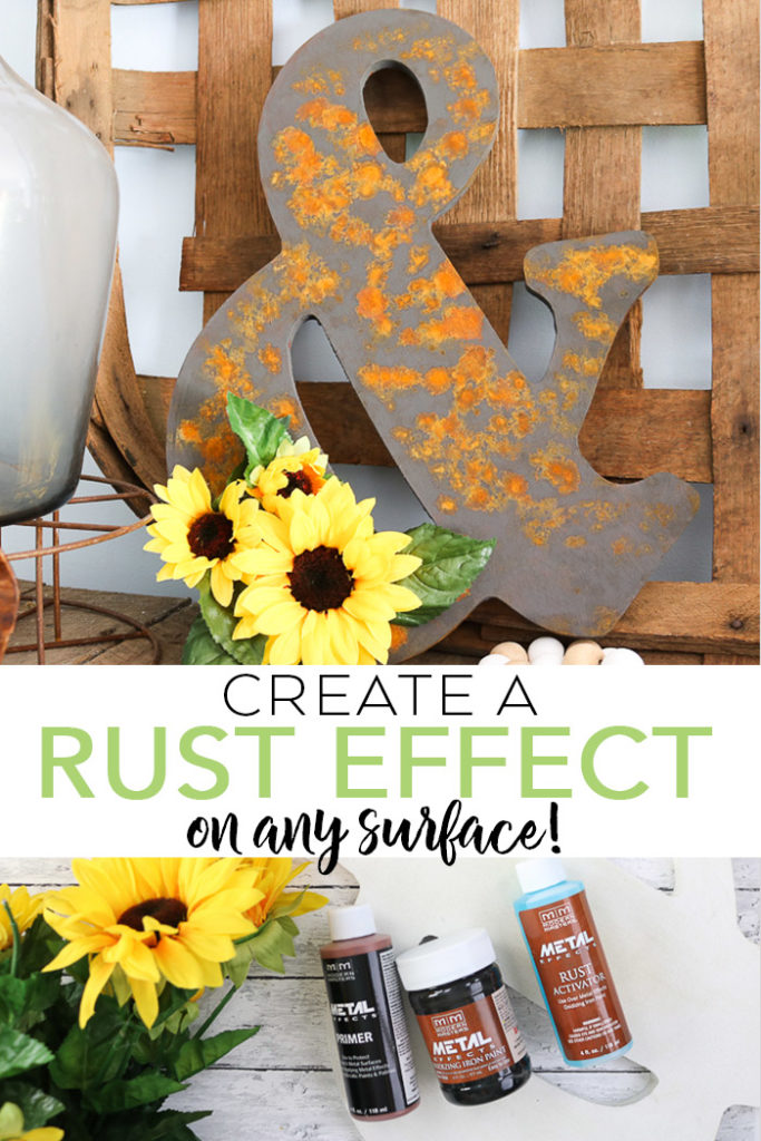 This rust effect paint is the perfect away to add a rustic finish to any surface! An authentic rust finish just with a few bottles of product! #rustic #rust #farmhouse #farmhousestyle